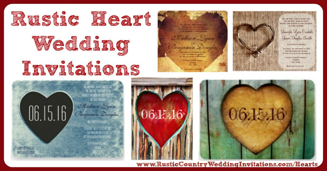 Rustic Heart Wedding Invitations | Country Style Wedding Invitations ...