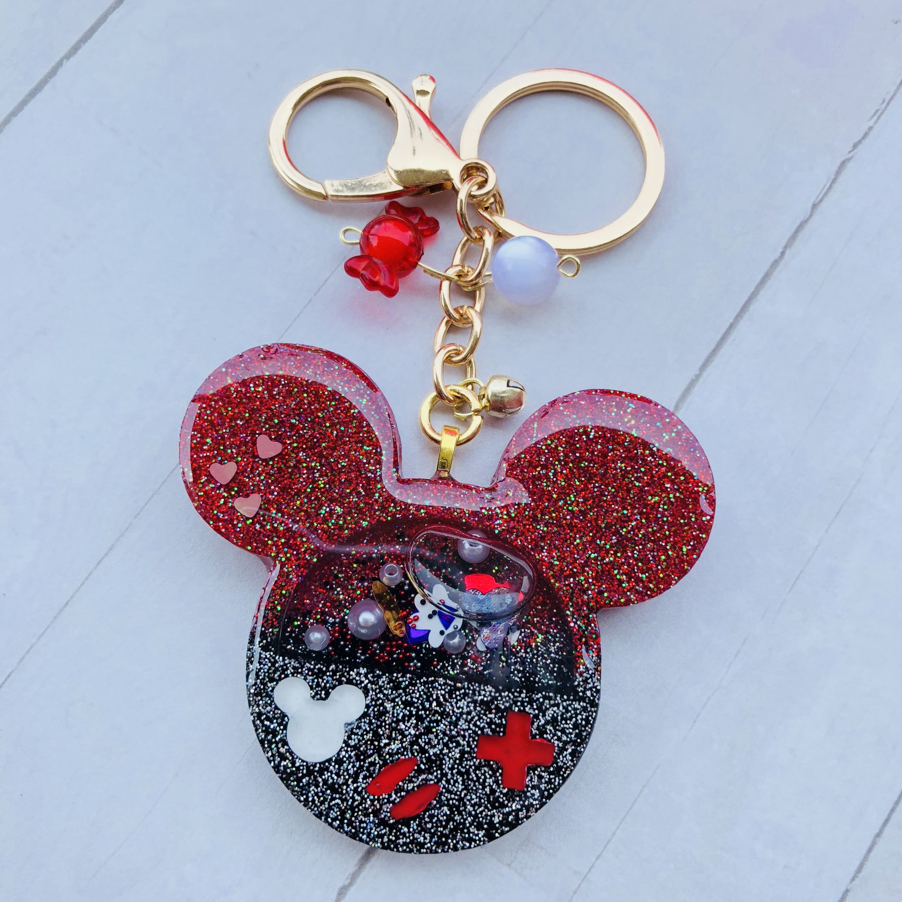 Handmade Resin Keychain Bag Charm Liquid Shaker Mickey Mouse Gameboy Resin Jewelry Diy Epoxy Resin Crafts Resin Charms
