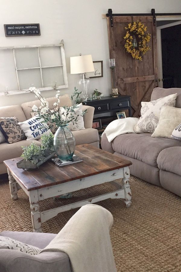 Farmhouse Living Room Decor Ideas 22 Source : pinterest ...