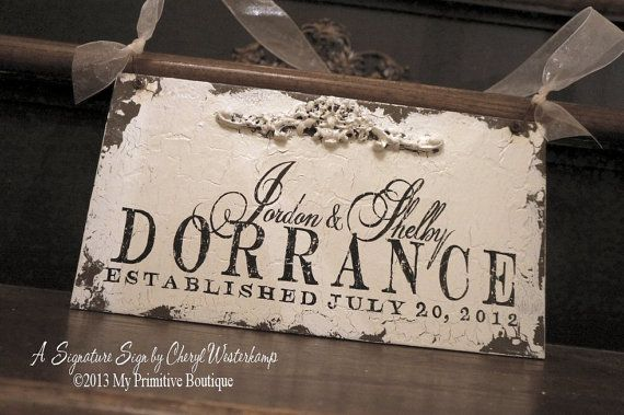 SHABBY CHIC Name Sign, Custom Name Sign, Wedding Sign, Established Sign, Personalized Sign, 13 x 7, Romantic Roses, Floral Accent, Sign