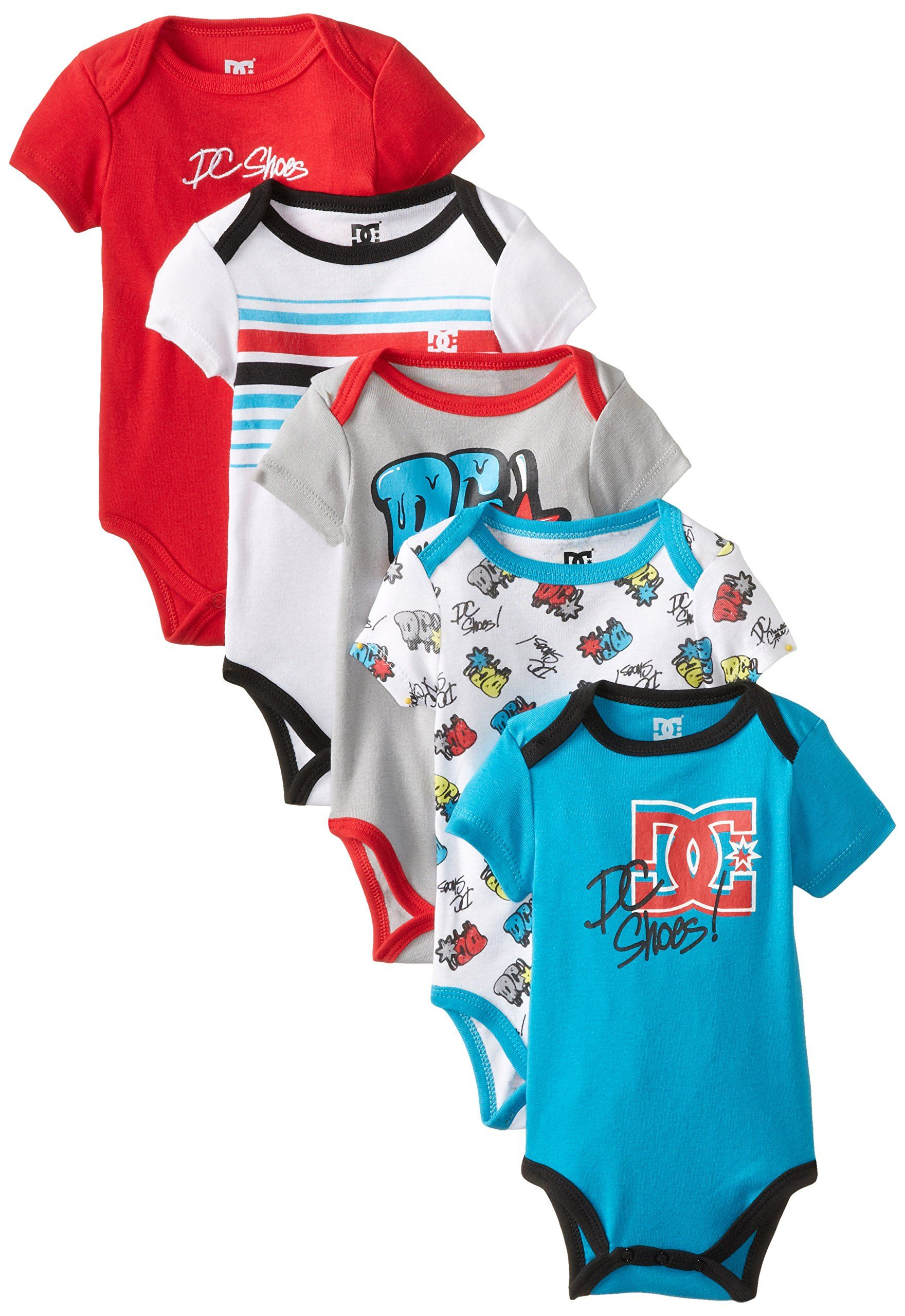DC Shoes Co Baby Boys Newborn 5 Pack Bodysuits Red Aqua Gray Group