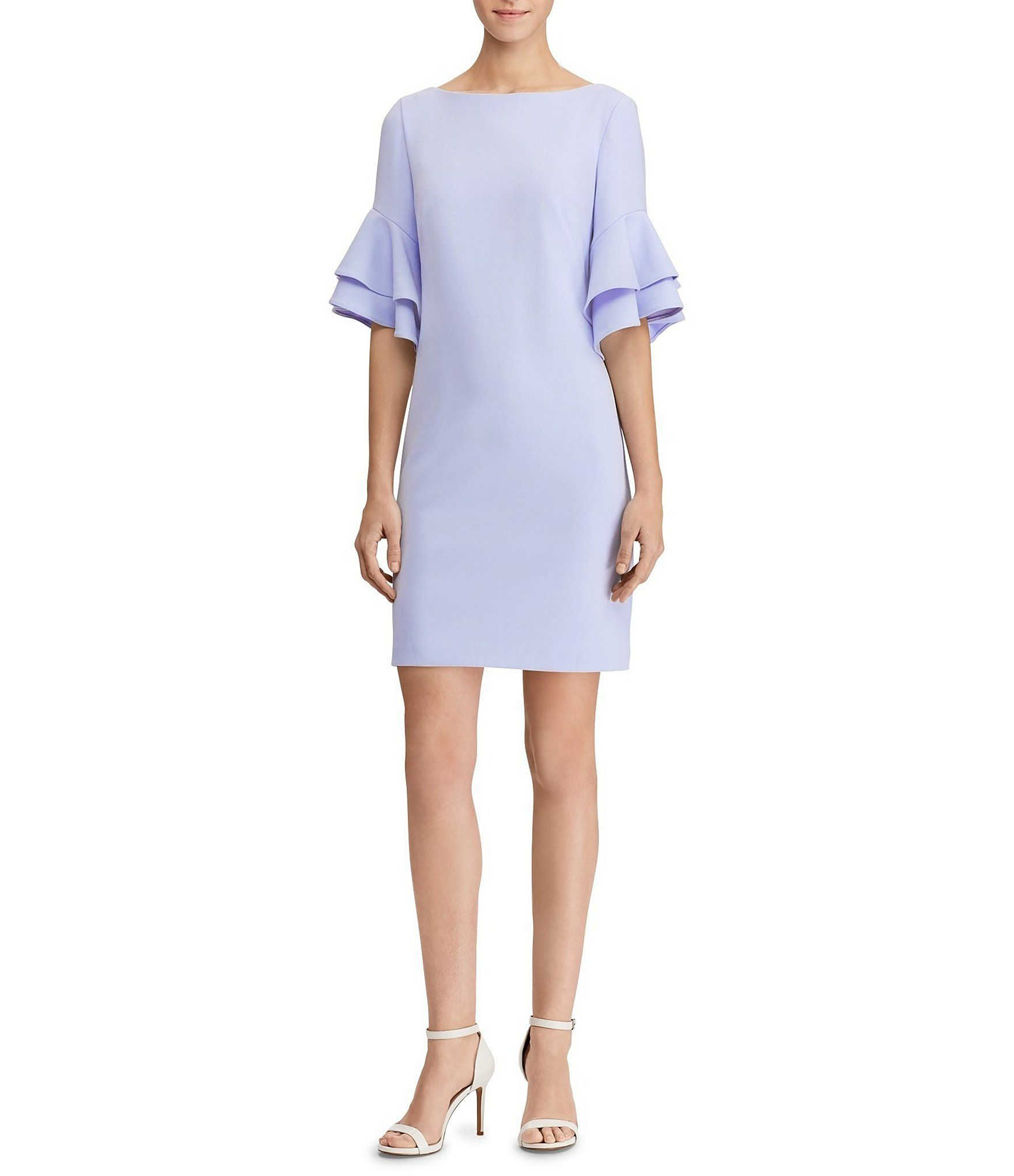 98ca5403e4b Lauren Ralph Lauren Blush Pink Ruffle-Sleeve Crepe Dress