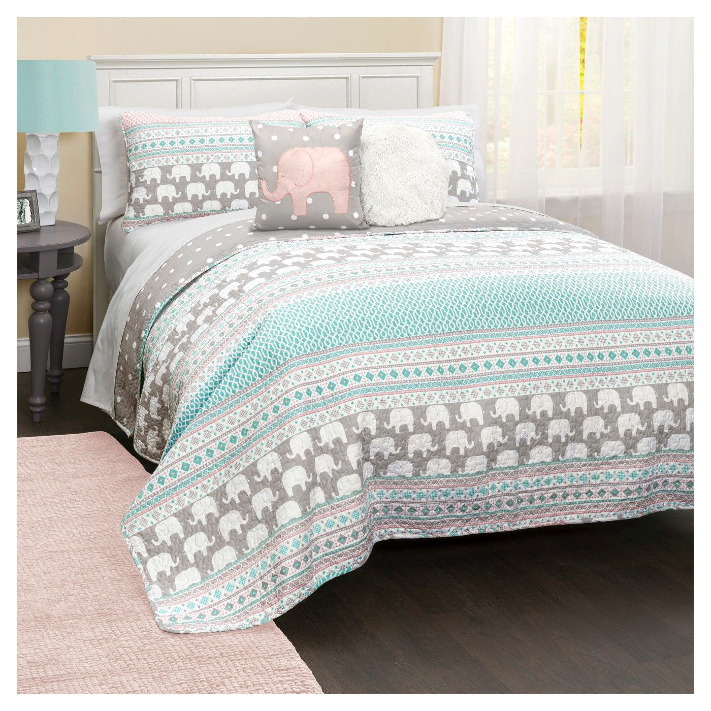 Elephant Stripe Quilt Bedding Set  Image 1 Of 8