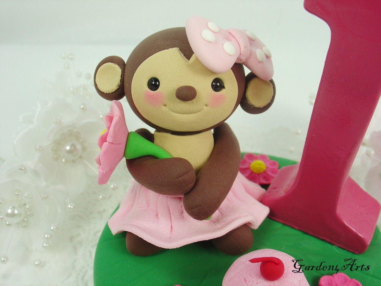 Customise lovely monkey girl caketopper with grass base