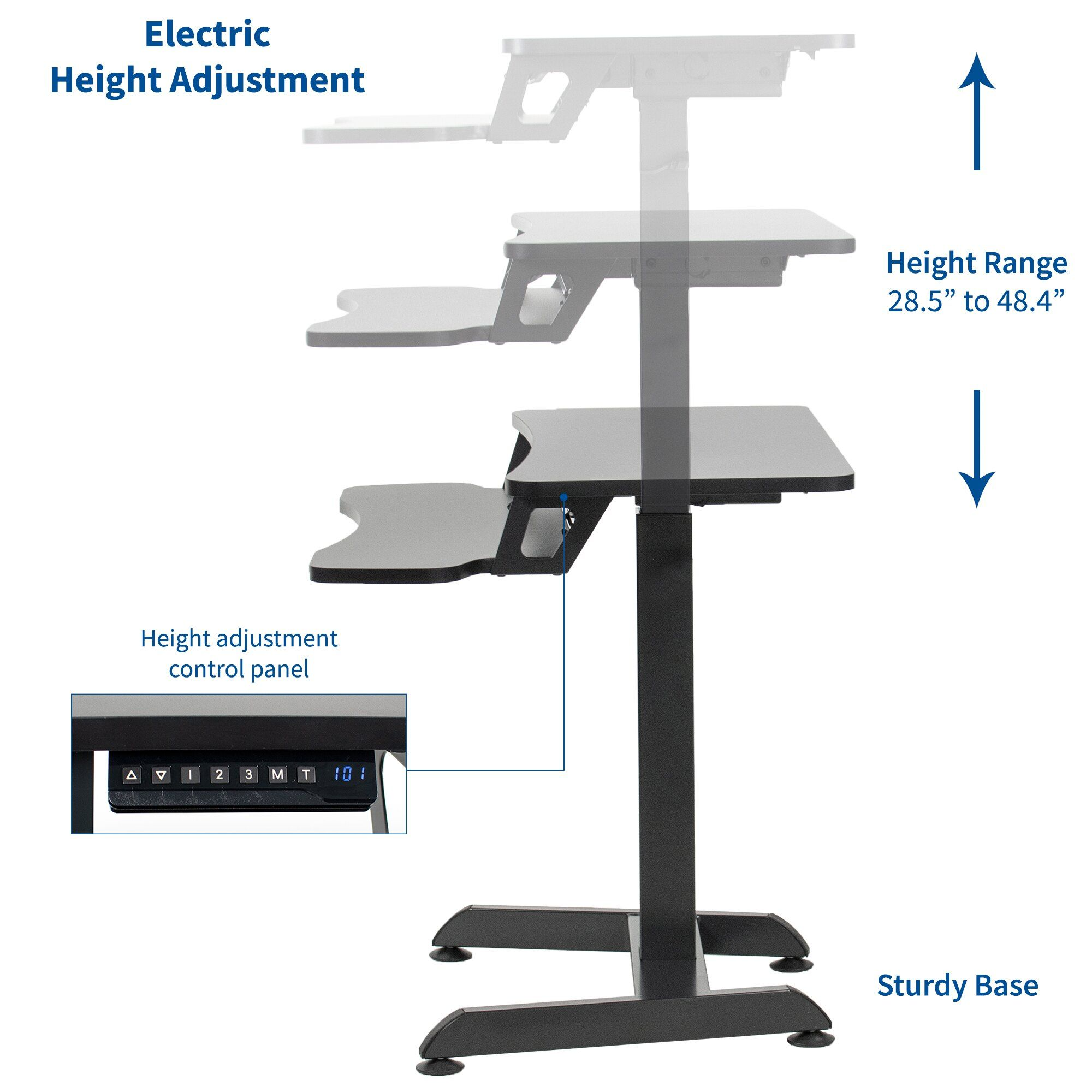 Vivo Vivo Black Electric Height Adjustable Tall Standing Desk Monitor Sit Stand Small Space Workstation Desk V111 Work Station Desk Tall Standing Desk Desk