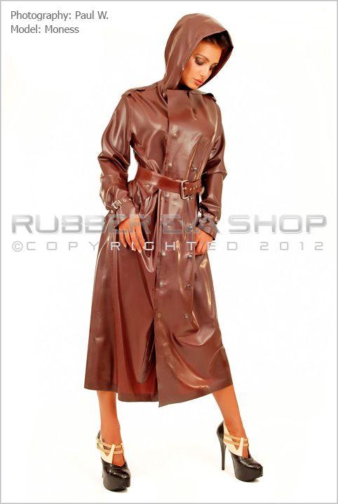 Long Rubber Trench Coat - Coats & Jackets