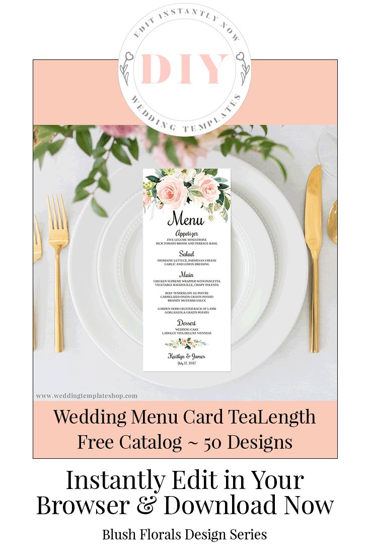 Wedding Menu Card TeaLength Blush Florals Edit Online, Download