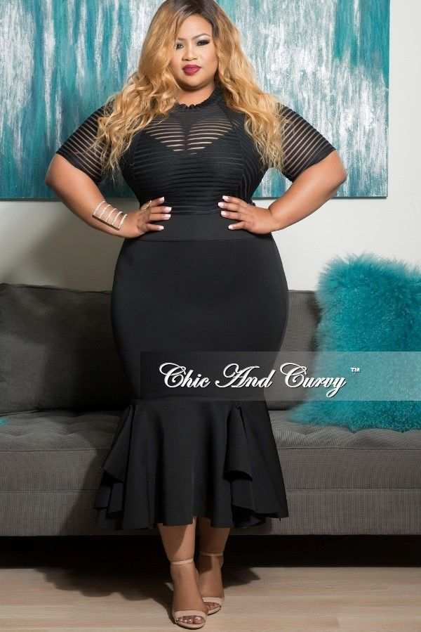New Plus Size Mesh Bodycon Dress with Bottom Ruffle in Black ...