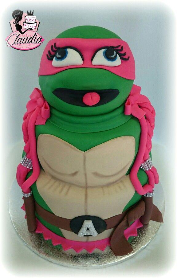 Girl Ninja turtle cake cakes Pinterest Girl ninja turtle