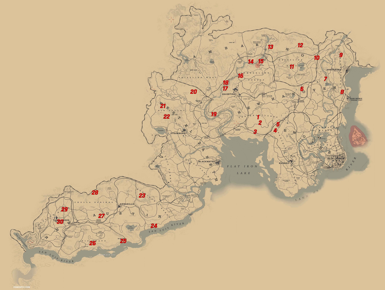 All Dinosaur Bone Locations In Red Dead Redemption 2 Dinosaur