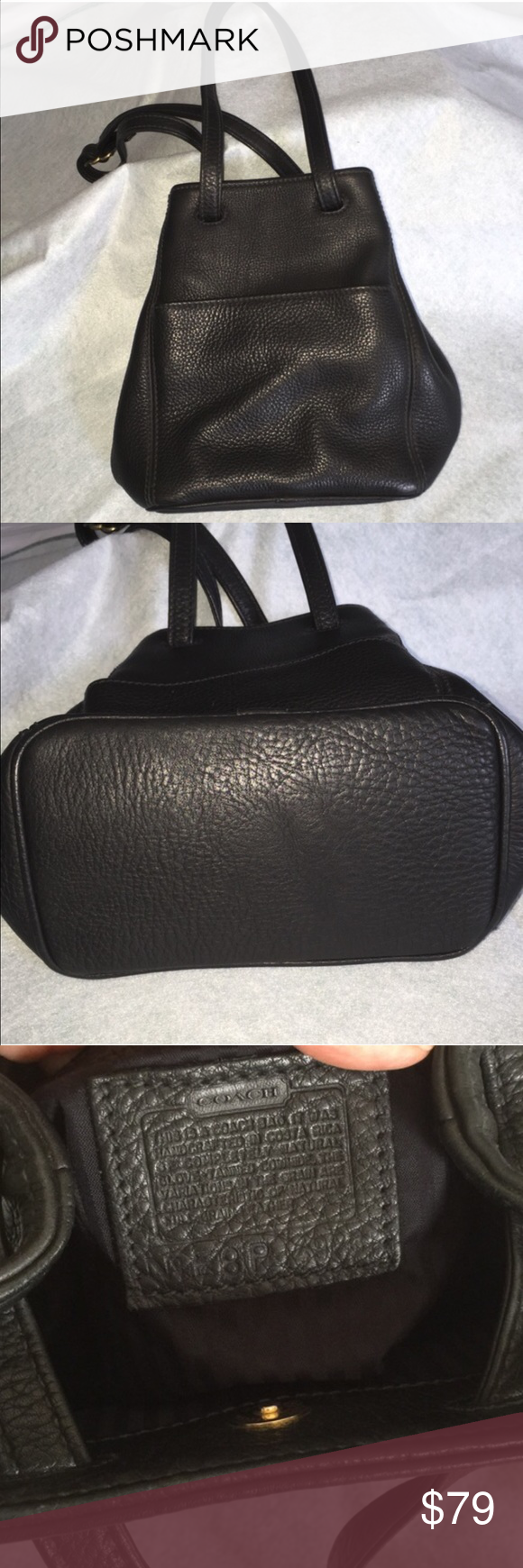 """Beautiful Coach Vintage Convertible Purse This beautiful, black, vintage Coach purse is in excellent condition. It has a very clever convertible design. Can be worn on your shoulder (11"""" shoulder drop) or as a cross body bag with strap pulled all the way through. It is very on trend right now. 2 outer pockets make it so convenient to slip your phone (fits my iPhone 6s plus) & keys into for easy access. 1 outer pocket has a snap closure. Serial #E8P-4923. 10"""" wide on bottom, 10"""" tall, 5""""…"""