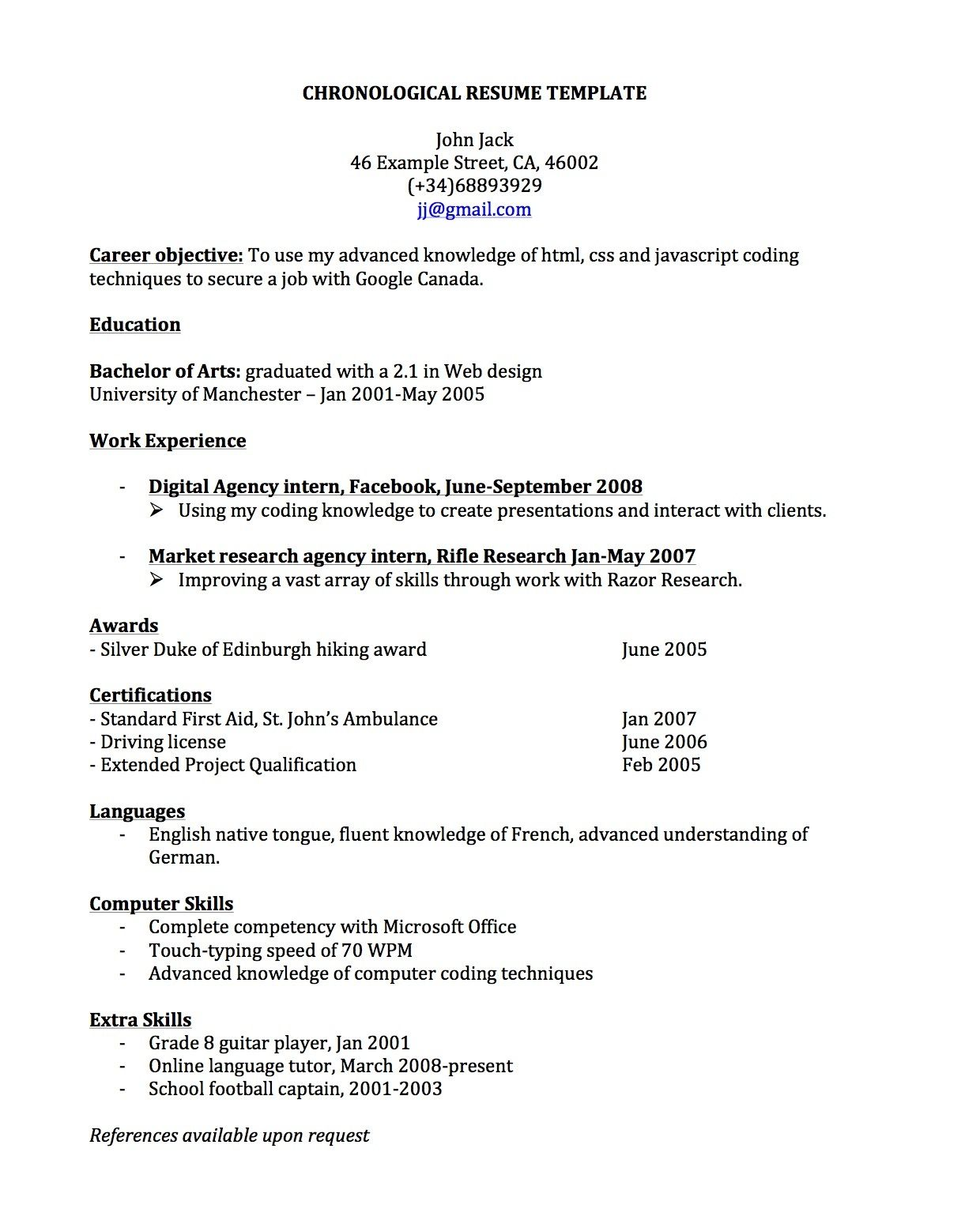 Cv Template Spain Chronological resume template, Job