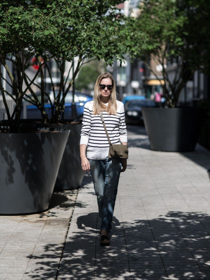 Jeans & Stripes   Wearing Armor-Lux Sweater, Closed Peddle Jeans, ATP Atelier Rosa Sandals, Danielle Foster Bag   @styleminimalism