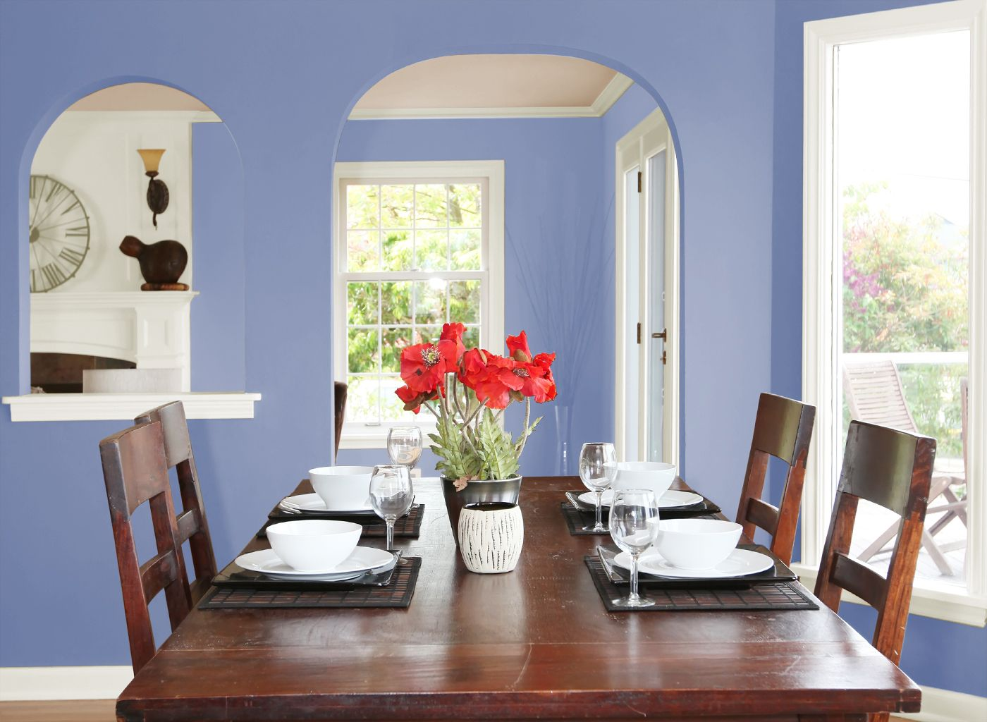 Simple Dining Room Color Ideas: Dark Periwinkle Dining Room