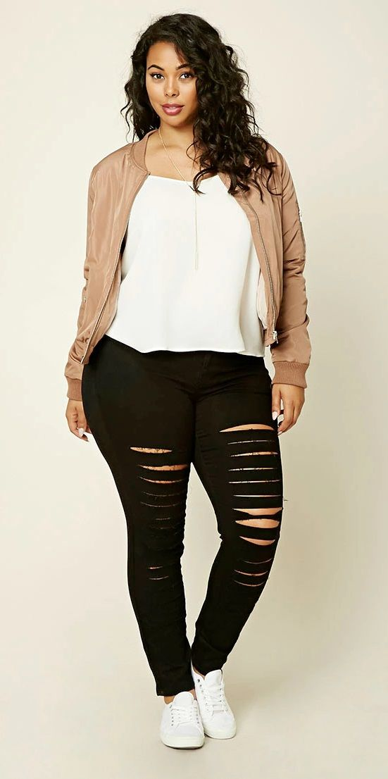 bd1420c5639 Plus Size Distressed Jeans