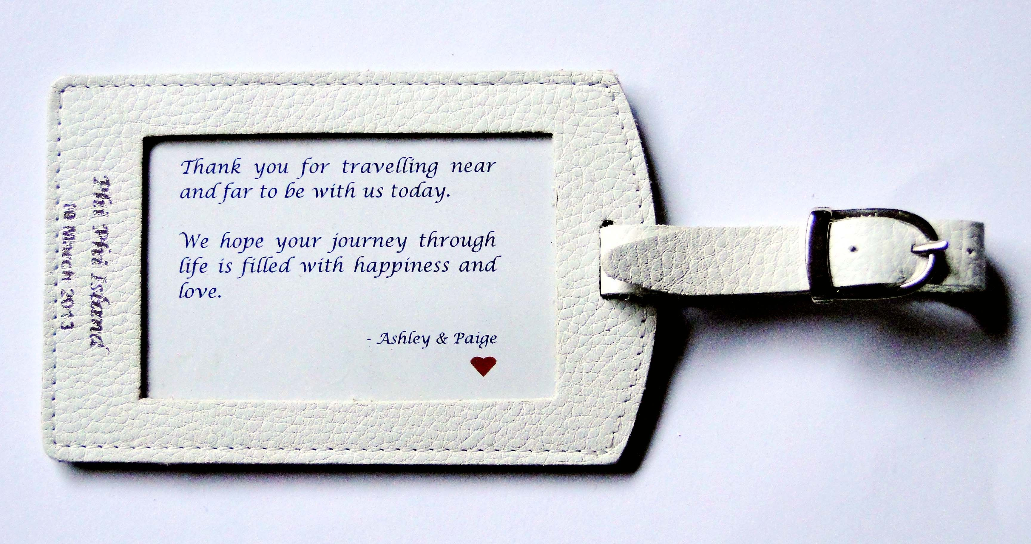 Guest favour - Embossed leather luggage tags | Casamento: wedding ...