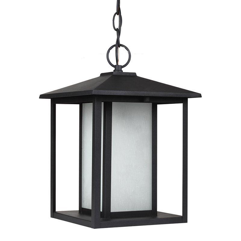Sea Gull Lighting Hunnington Fluorescent 1-Light Outdoor Pendant - 13.75H in. Black - 69029BLE-12
