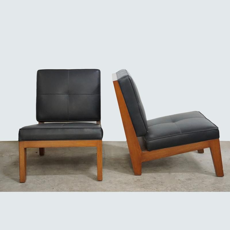 Walnut And Black Leather Slipper Chair
