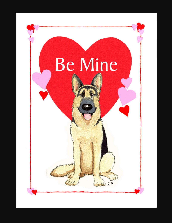 German Shepherd Valentine Card by Judzart on Etsy https://www.etsy