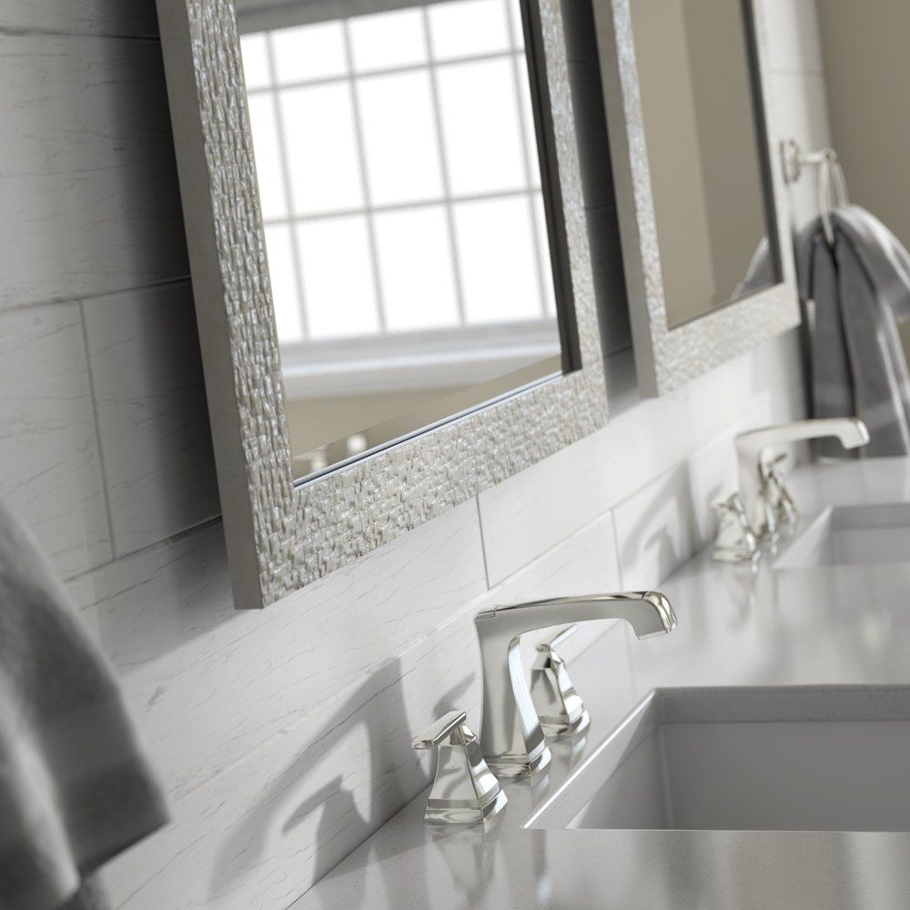 Delta Wall Mount 21 In X 28 In Small S1 Rectangular Framed Float Mounting Bathroom Mirror In Stone Mosai Bathroom Mirror Glass Bathroom Bathroom Mirror Frame