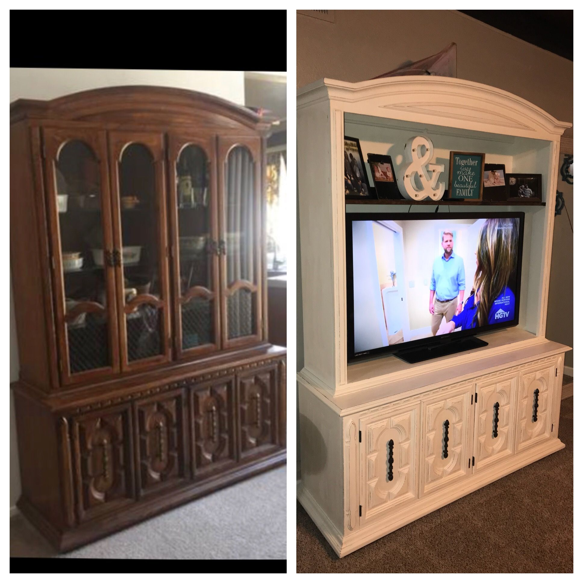 China Cabinet Turned Into Tv Stand Redo Furniture Upcycled Furniture Before And After Refurbished Furniture
