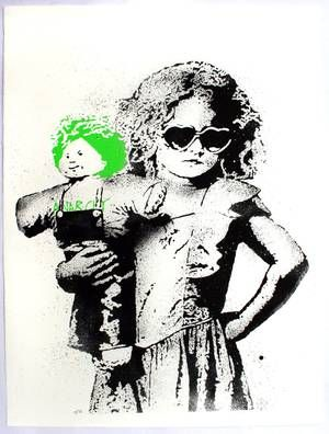 L.E.T. Dolled up (green)  Screenprint on Summerset  2012