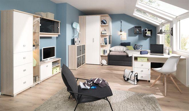 Wellemobel Jugendzimmer Moderne Farbgestaltung In Weiss Und Rauchblau Mobel Mit Www Moebelmit De Jugendzimmer Kinder Zimmer Kinderzimmer