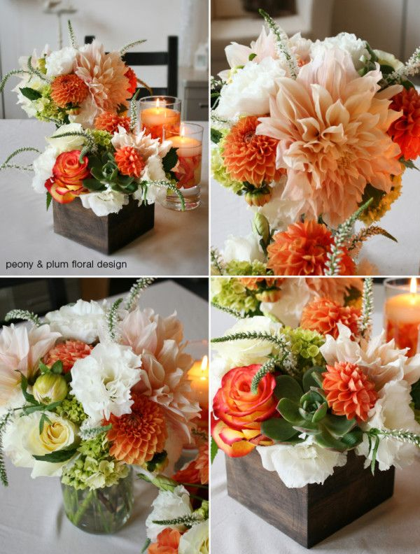 Succulent Dahlia Centerpiece This Has The Nice Orange Tangelo Green And White Dahlia Centerpiece Flower Centerpieces Wedding Flowers