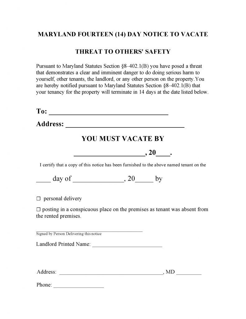 Free Maryland 14 Day Notice To Quit Threat To Others Pdf Word Template Eviction Notice Threat Being A Landlord