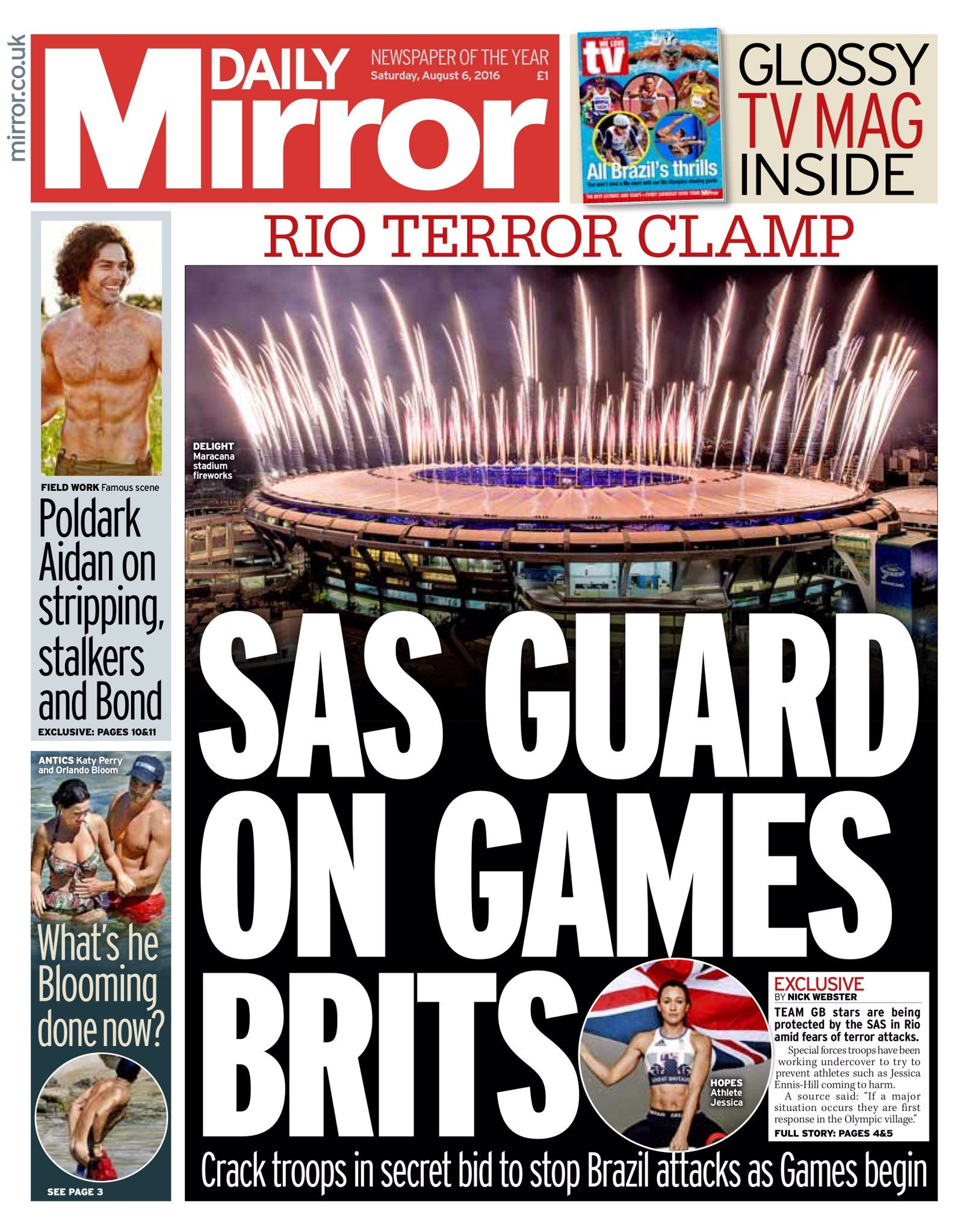 Saturday's Daily Mirror: SAS guard on Games Brits #tomorrowspaperstoday #bbcpapers #Rio2016 https://t.co/ejKweE3t0V
