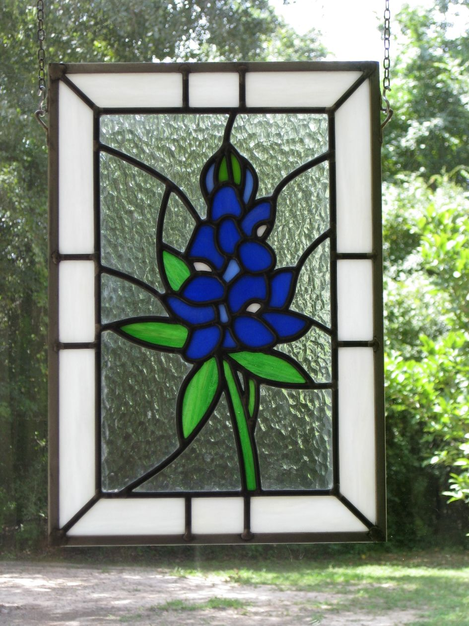 stained glass | Stained Glass Bluebonnet Panel | Glass Art by Margot ...