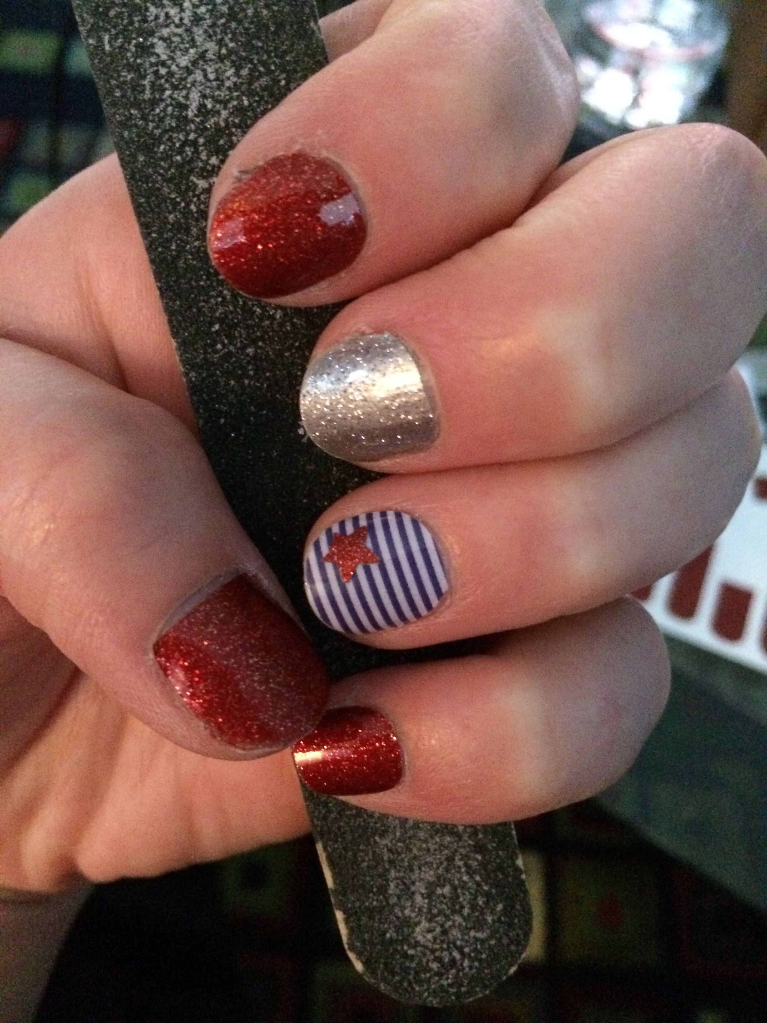 Jamberry...Fire engine sparkle, silver dust sparkle, skinny navy ...