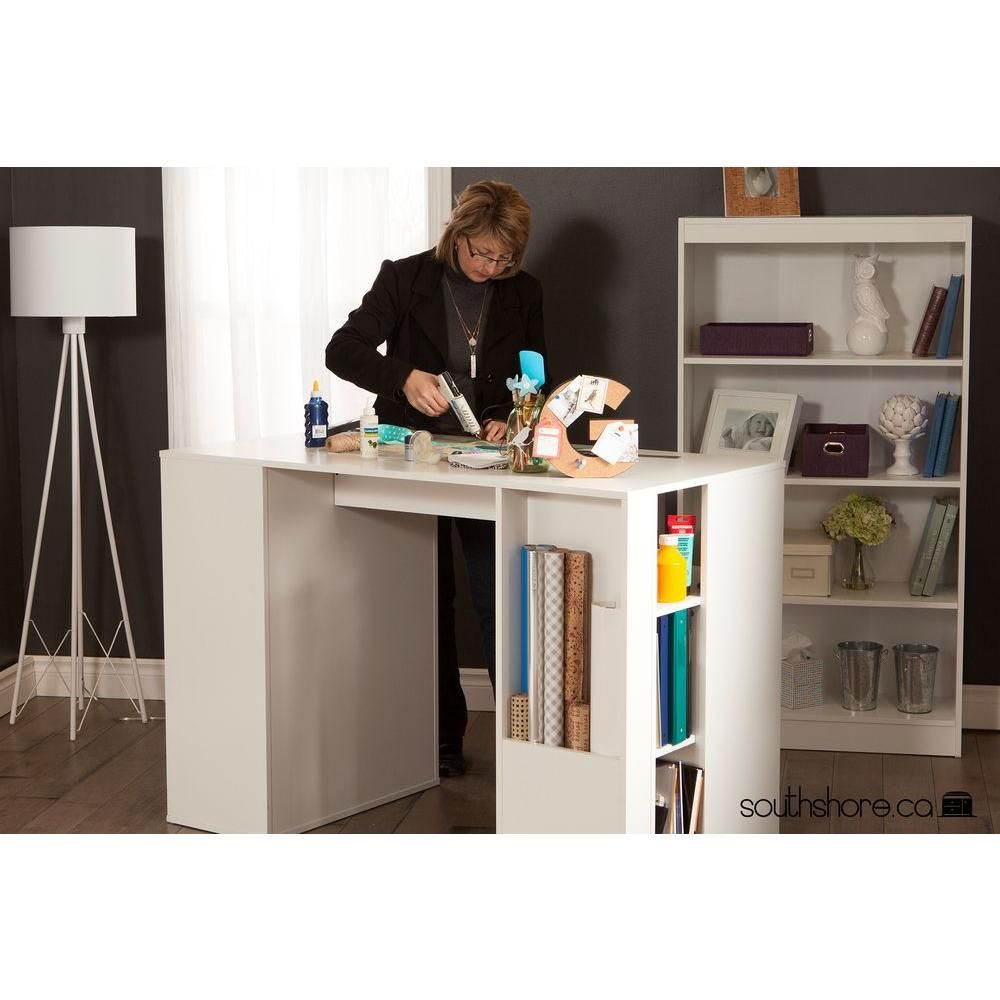 South Shore Crea Pure White Counter Height Craft Table With Storage 7550729 The Home Depot Craft Tables With Storage Craft Table Craft Room