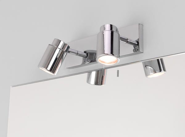 Ax6121 Como Twin Wall Spotlight In Polished Chrome Ip44 With Pull Cord Switch 2 X 35w Gu10 Adjustable Spots Astro 1282004 Bathroom Spotlights Bathroom Wall Lights Bathroom Light Pulls
