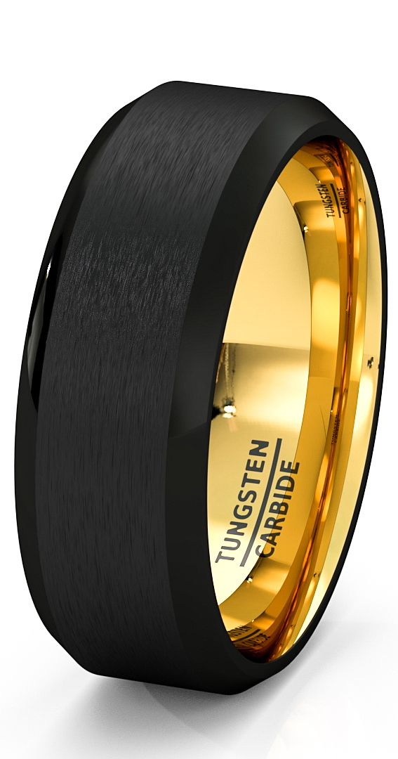 Mens Wedding Band Black Gold Tungsten Ring Brushed Surface Center Beveled Edge 8mm Comfort Mens Wedding Bands Black Rings Mens Wedding Bands Gold Tungsten Ring