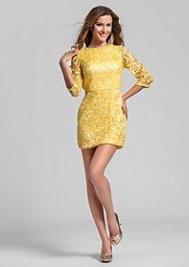 af55f2059ab9 kitrino forema me dantela gia paranumfo Dresses for wedding summer 2017  yellow short