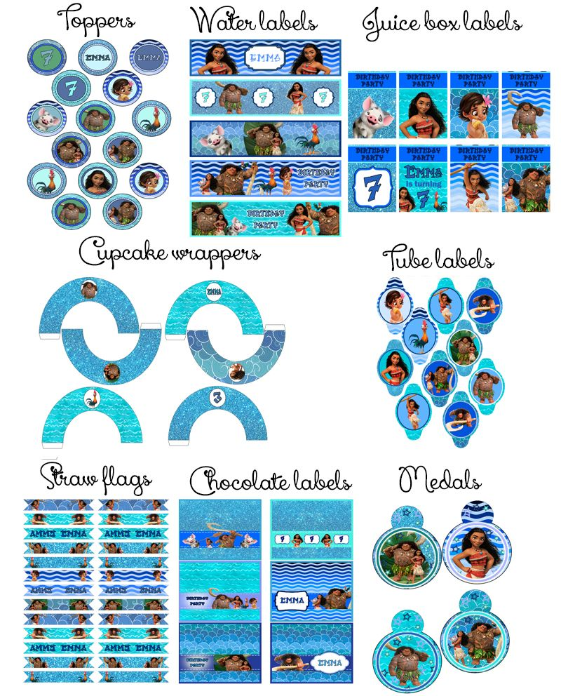 SUPER SALE!!! Moana Birthday Party Printable Personalized Set with ...