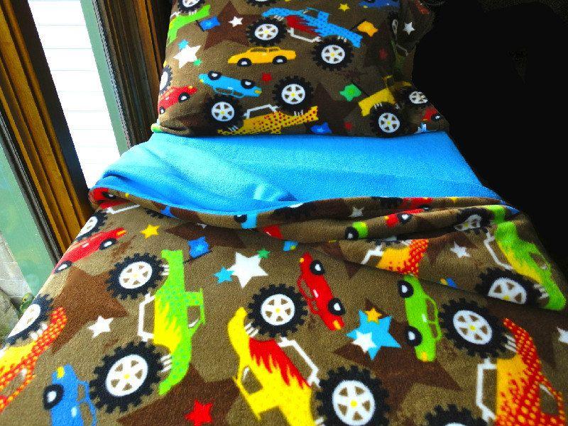 toddler bedding boys fleece bed set 'blue monster trucks' handmade