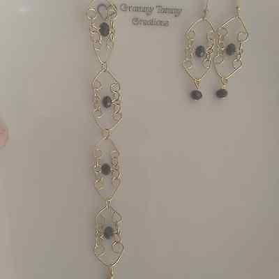 Gold and Black Crystal Bracelet Earrings Set Perfect Gift Lacy Beautiful | eBay   10.95