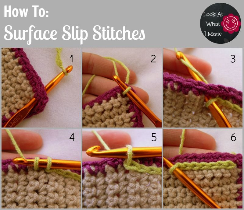 How to Make Surface Slip Stitches   Horgolás alaplépések, technikák ...