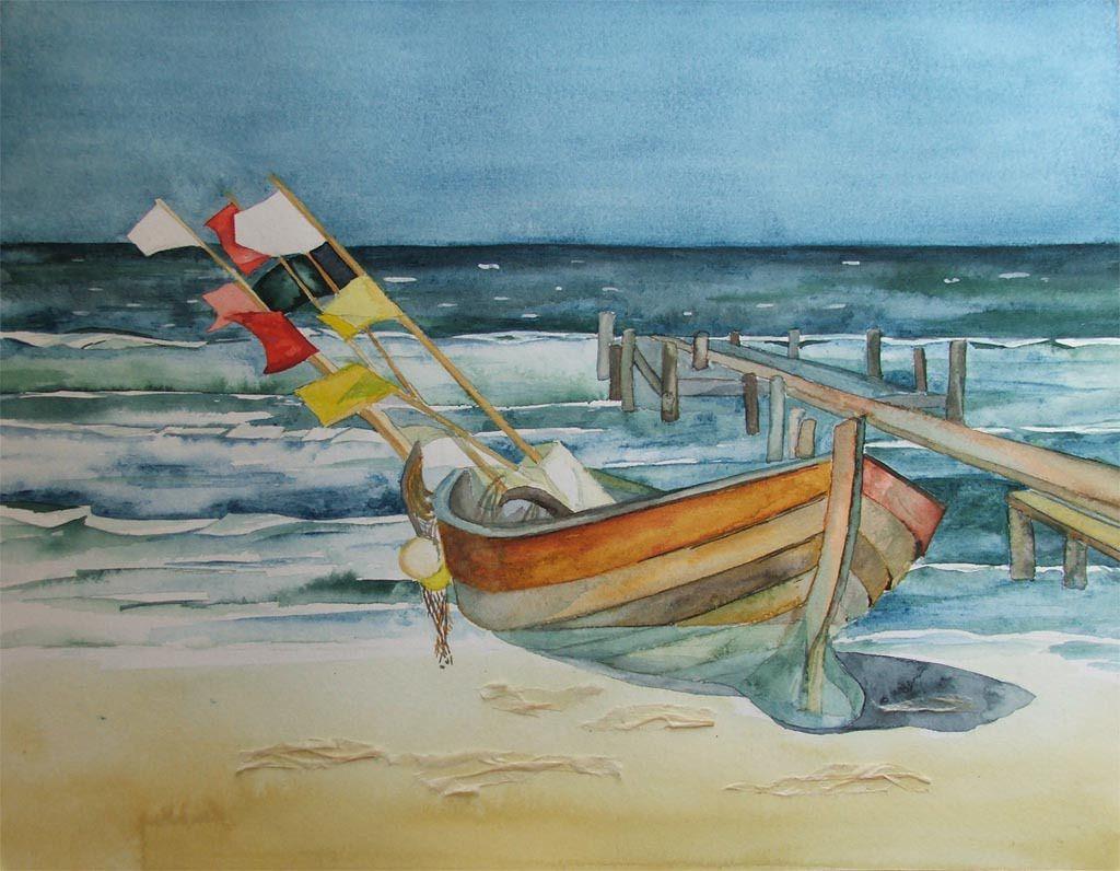 Boote Und Schiffe Im Aquarell Strand Aquarell Seemalerei Und