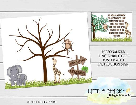 Safari Baby Shower Fingerprint Tree, Jungle Animals Thumbprint Tree, Digital Poster, Printable Poster, Alternate Guest Book