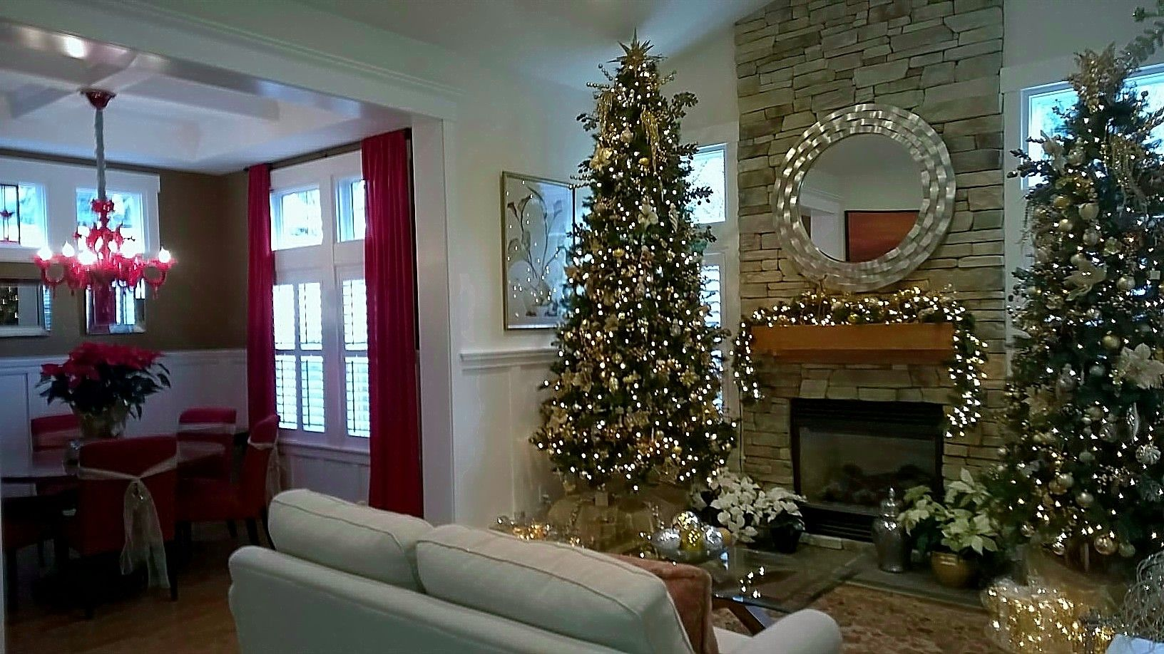 Two Christmas Trees In Living Room Decorated All In Gold Holiday Decor Tree Decorations Christmas Decorations