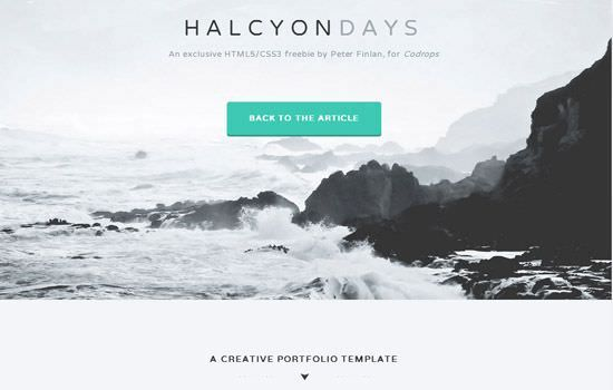 Halcyon Days HTML template for Portfolios