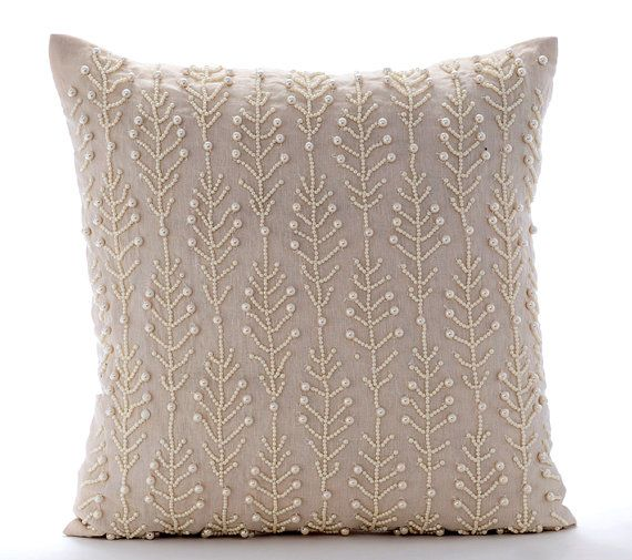 16x16 Decorative Beige Couch Throw Cotton Linen Etsy Decorative Throw Pillow Covers Decorative Pillow Covers Beaded Pillow