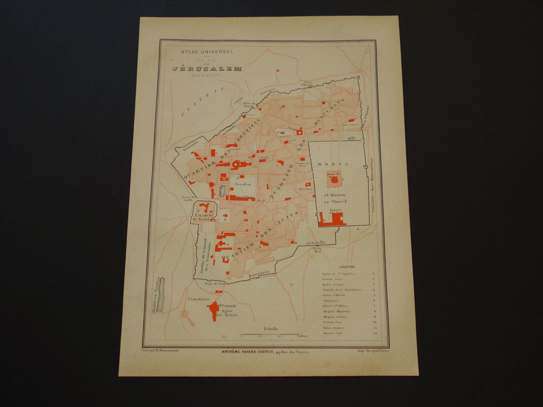 JERUSALEM antique map of Jerusalem 1878