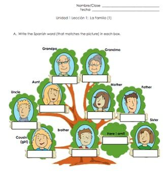 This activity is to help students practice Spanish family ...