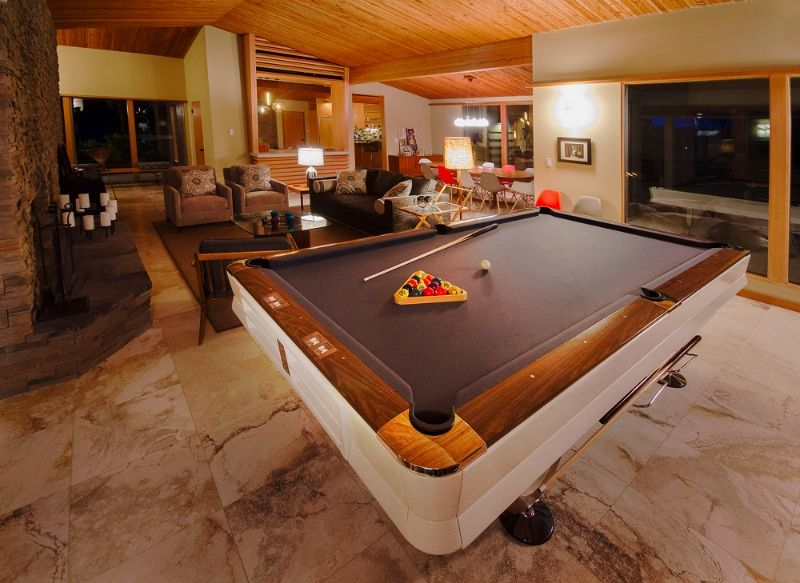 Vintage Pool Table In Midcentury Home The Ultimate Open Game Area - Mid century modern pool table
