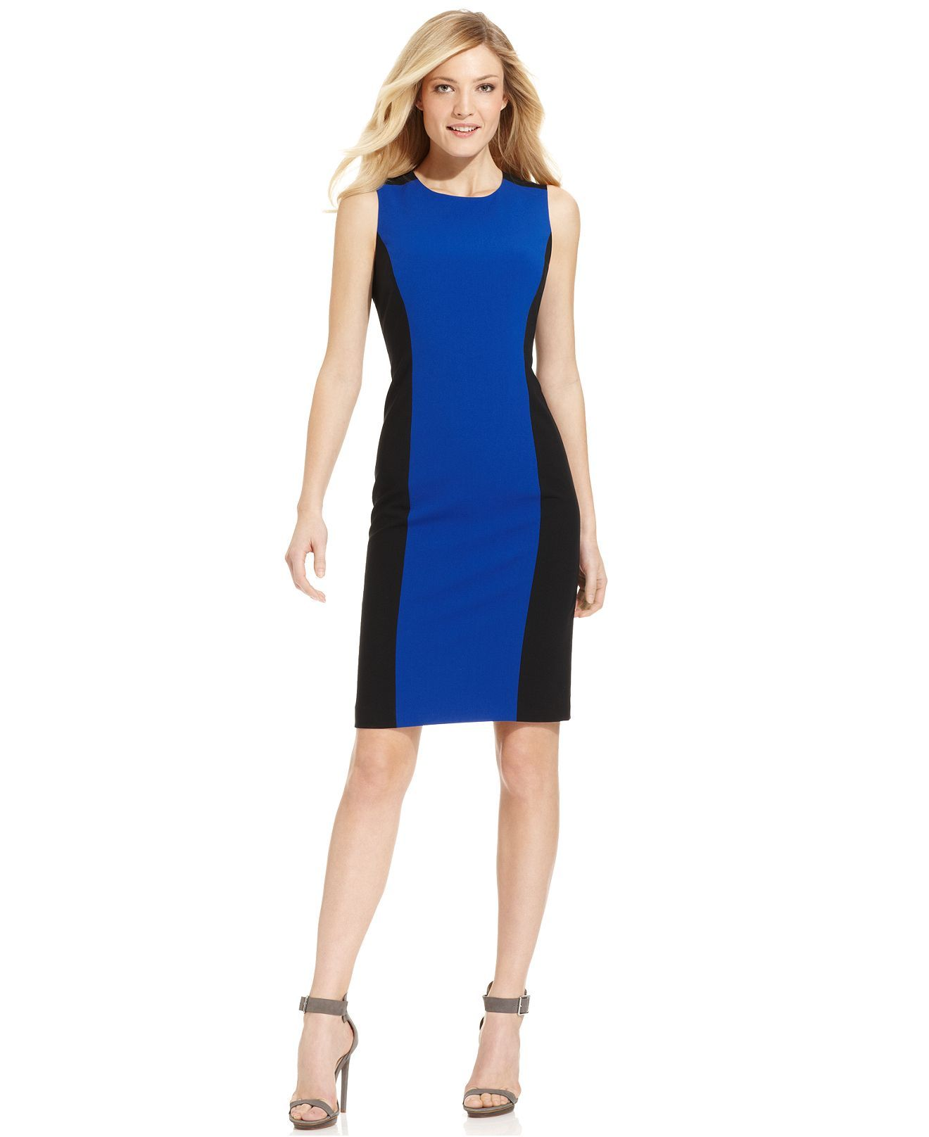 Calvin Klein Suit Separates Color Block Sleevless Sheath Dress Womens Dresses Macy S