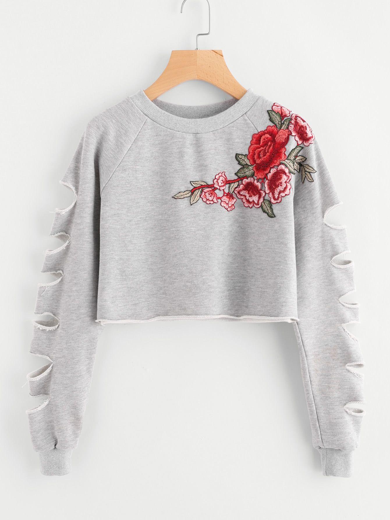 Shop Ladder Cut Raglan Sleeve Patch Crop Sweatshirt online. SheIn ... 2a7d74fc2